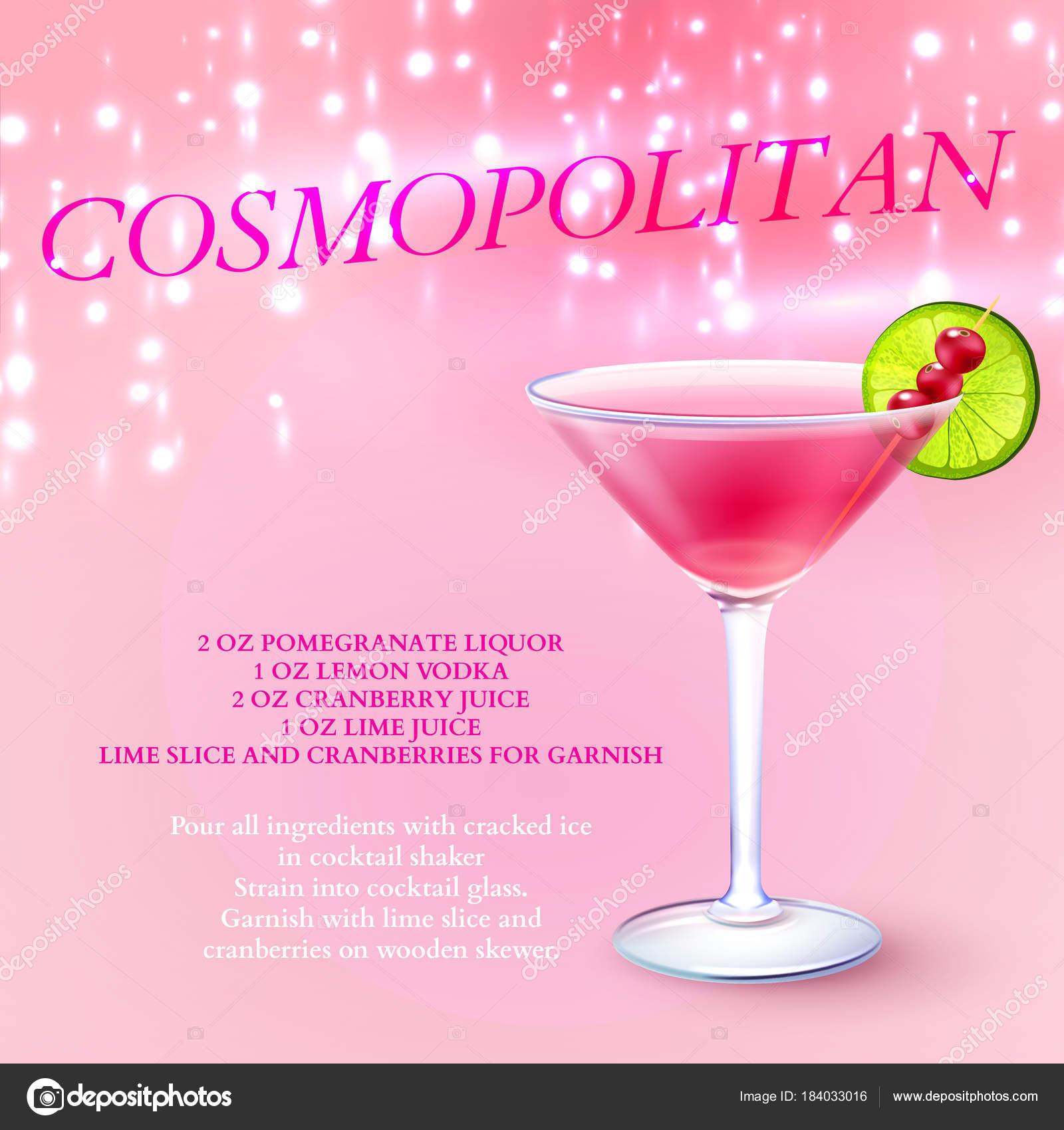 Реалистичные фон напитки с мартини стекла, заполнены с фиолетовым напиток с  ягодами и кусок извести с текстом векторные иллюстрации — Вектор от  macrovector fd56cdaa40c