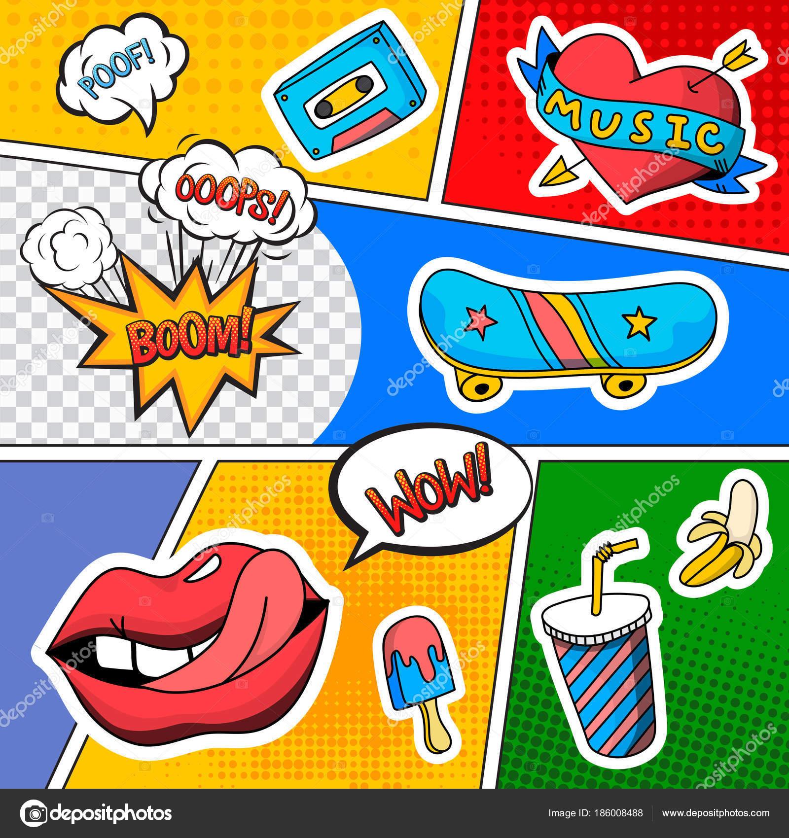 Emotionen Sound-Effekte-Comic-Buch — Stockvektor © macrovector ...