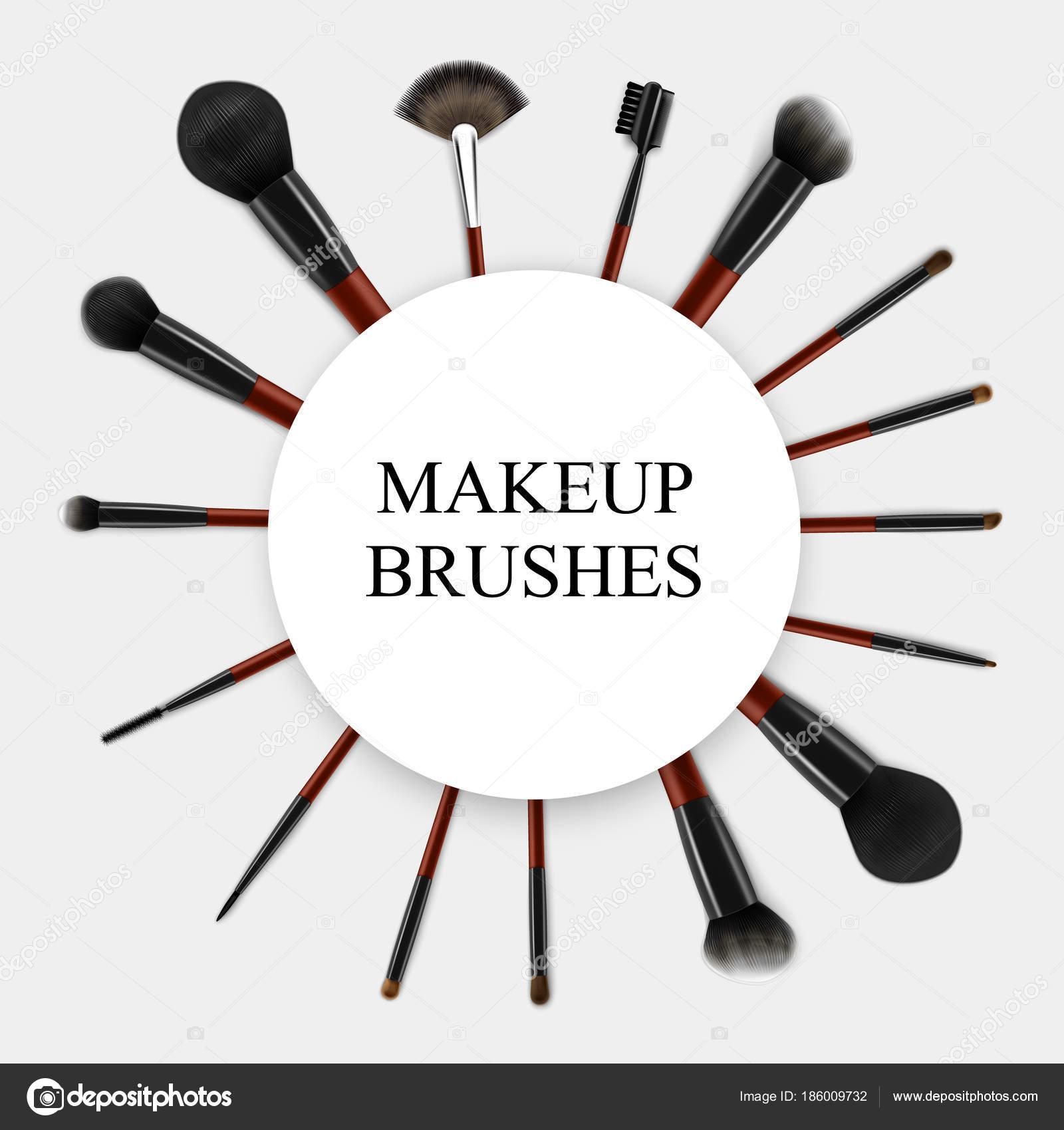 Realista marco Set de pinceles de maquillaje — Archivo Imágenes ...