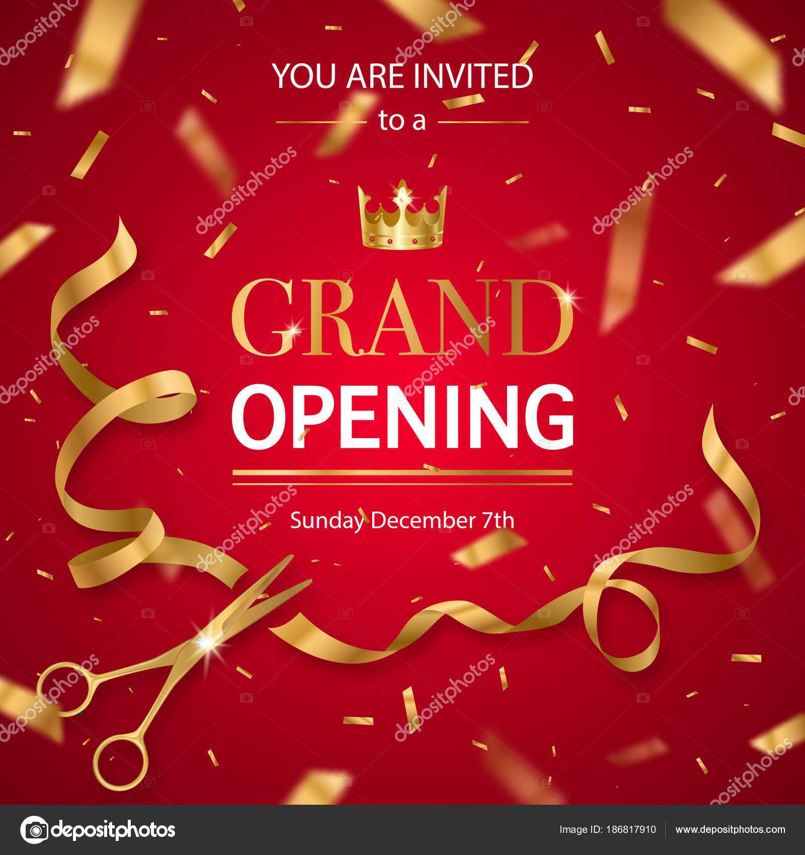 Realistic Grand Opening Invitation Pattern Stock Vector