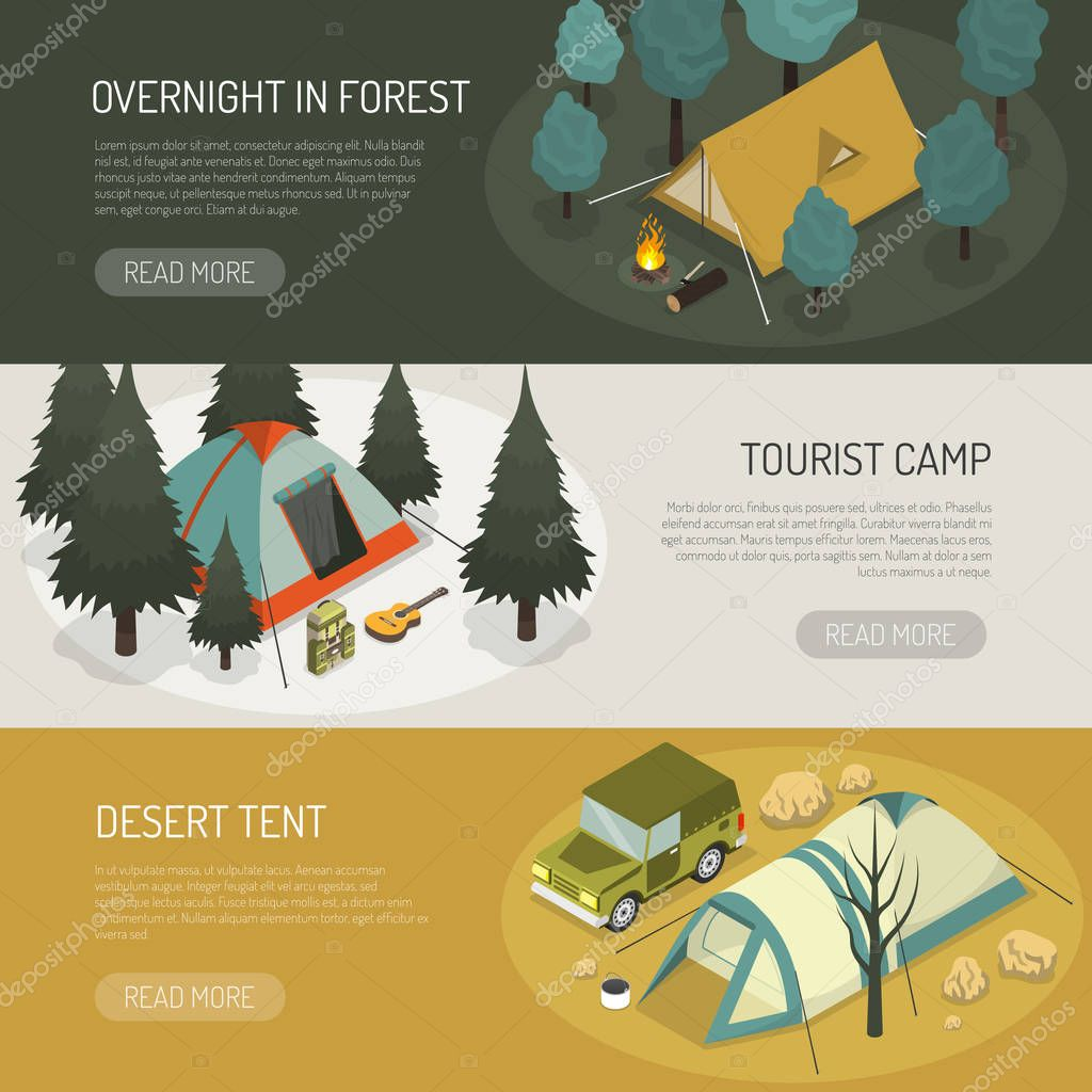 Camping Tents Choices Horizontal Banners Set