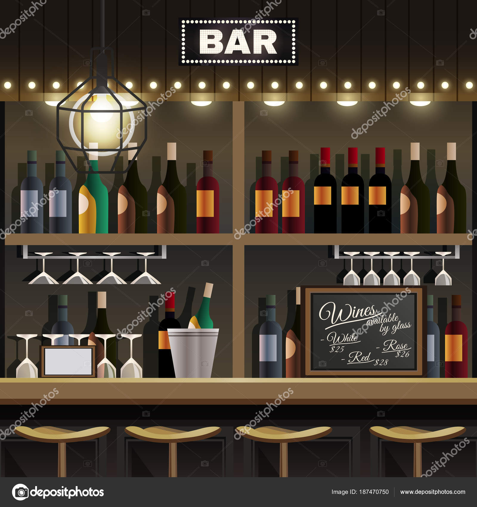 Bar-Innenraum realistisch — Stockvektor © macrovector #187470750