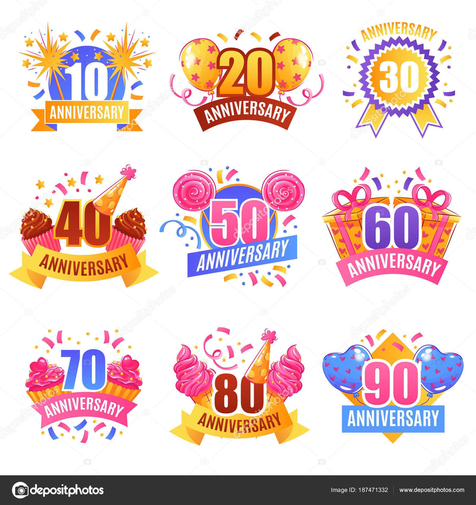 Geburtstag Zahlen festliches Set — Stockvektor © macrovector #187471332