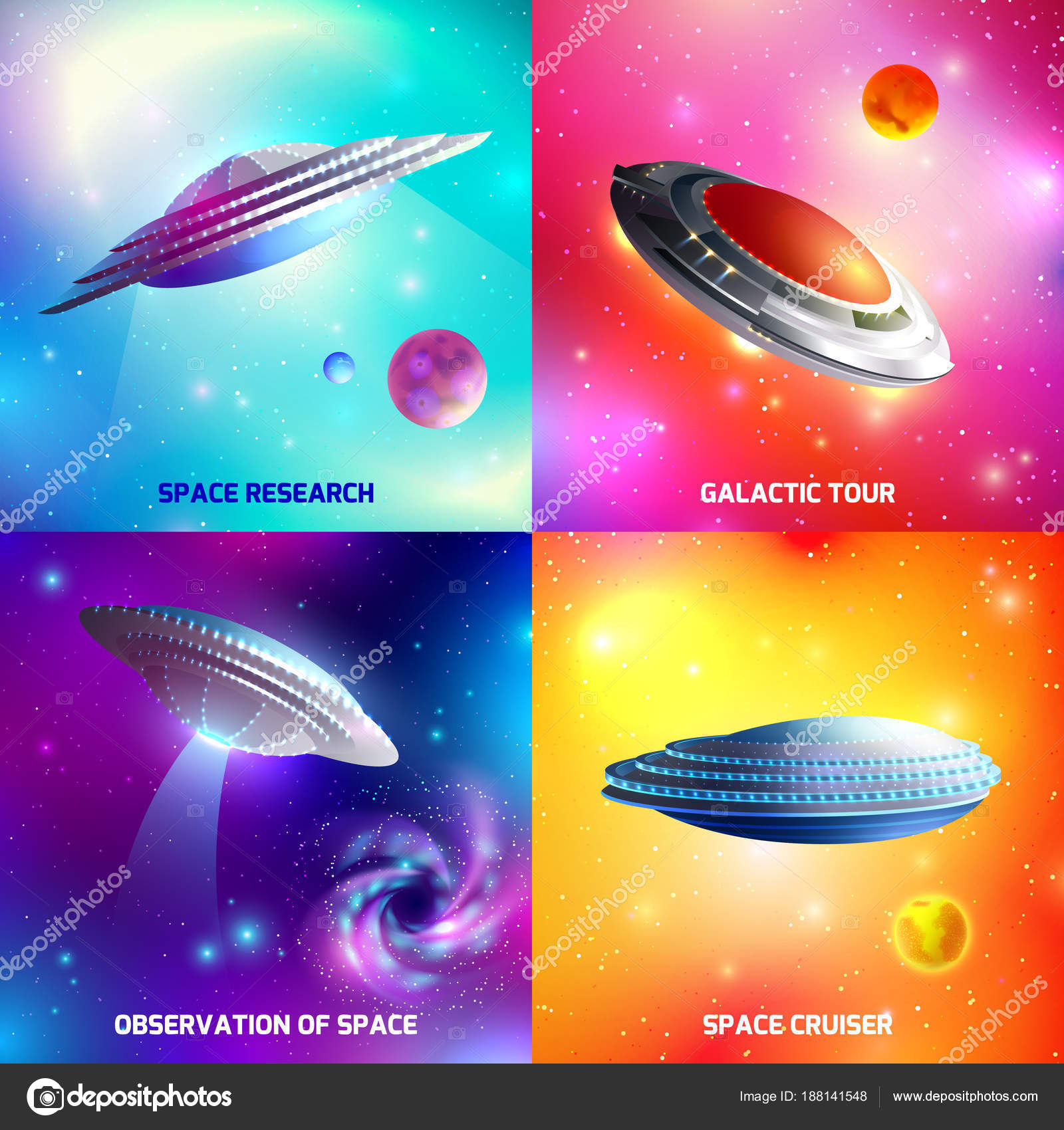 Alien Spaceship Design Concept Stock Vector C Macrovector 188141548
