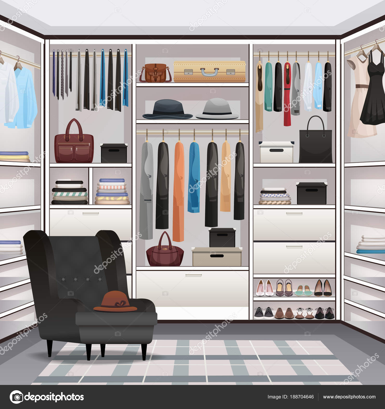 kledingkast garderobe interieur realistisch stockvector