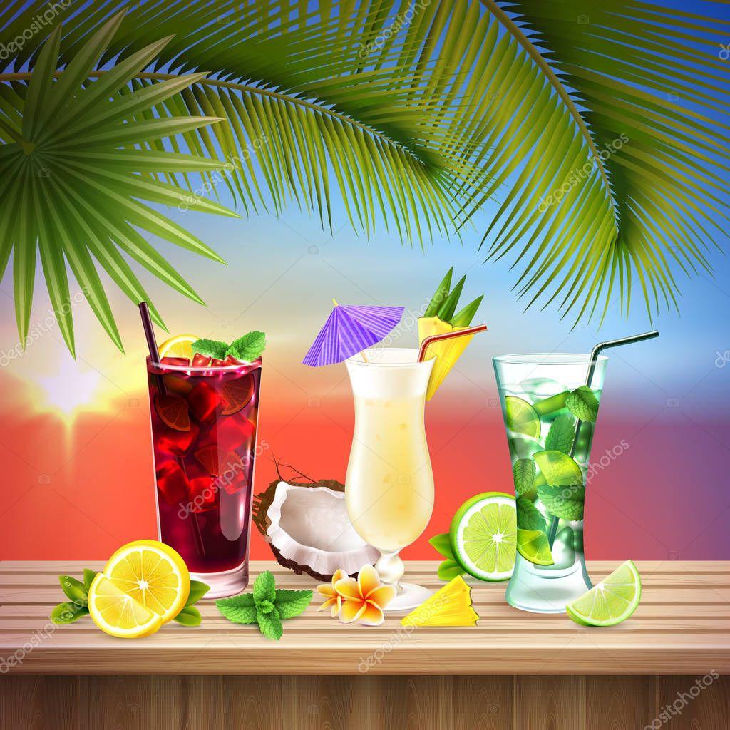 Cocktails Set Realistic Composition