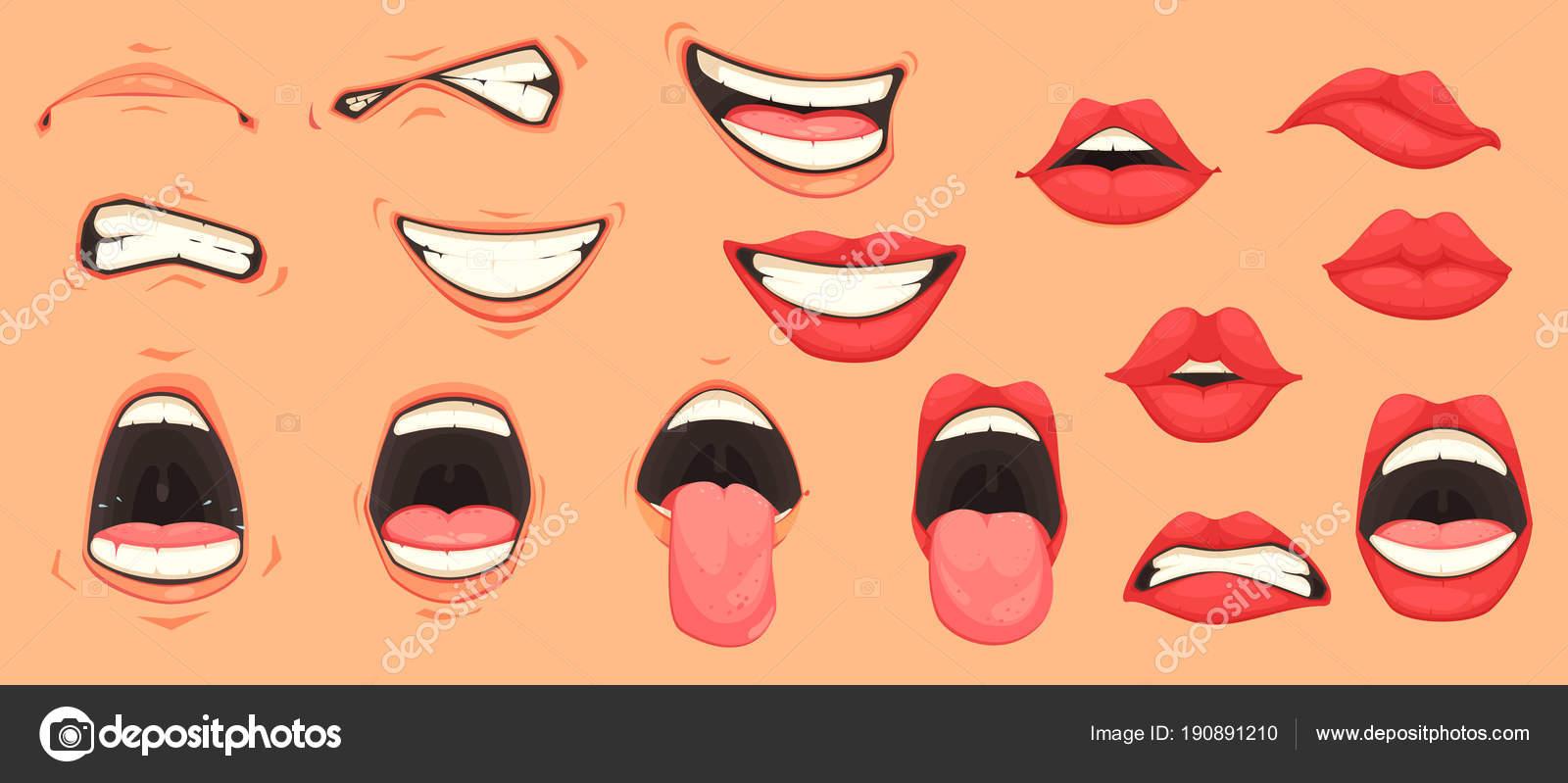 Dessin animé mignon bouche des expressions faciales gestes sertie de lèvres moue souriante qui sort illustration vectorielle langue isolée vecteur par
