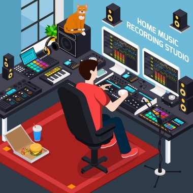 Music recording studio isometric composition with images of pro audio equipment in private environment home interior vector illustration stock vector