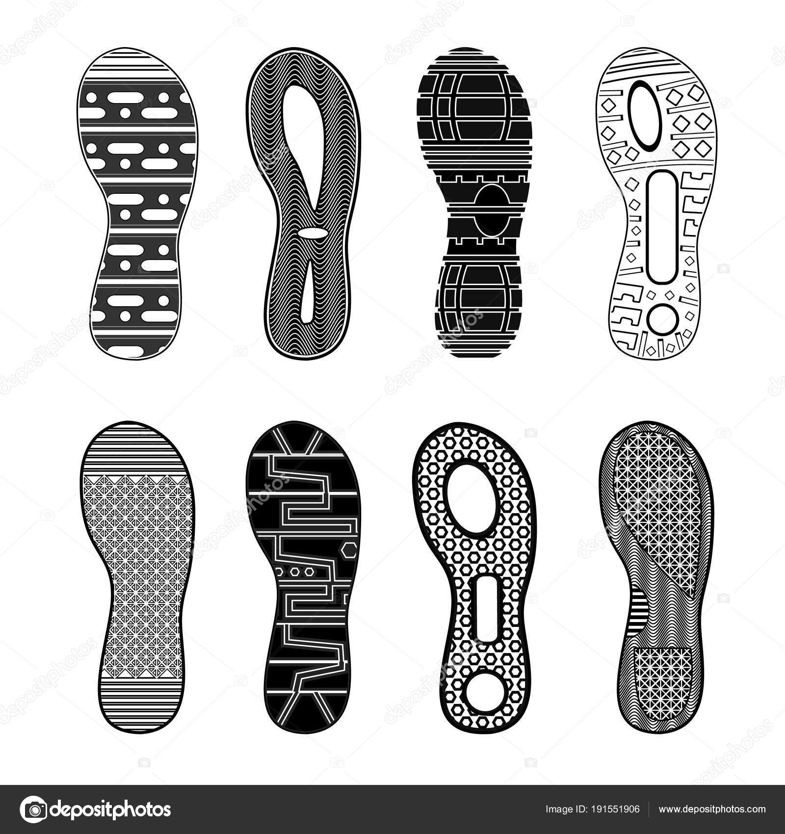 Deportivos Stock De Huellas Vector Monocromo — Sistema Zapatos vmN8nw0