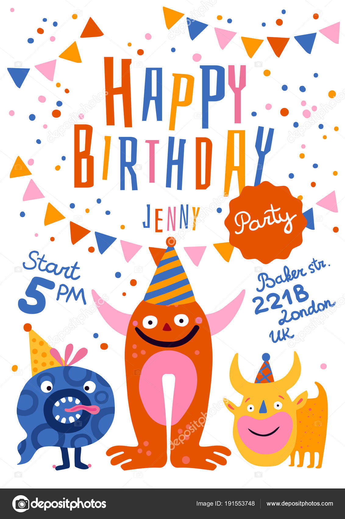 happy birthday party poster stock vector macrovector 191553748