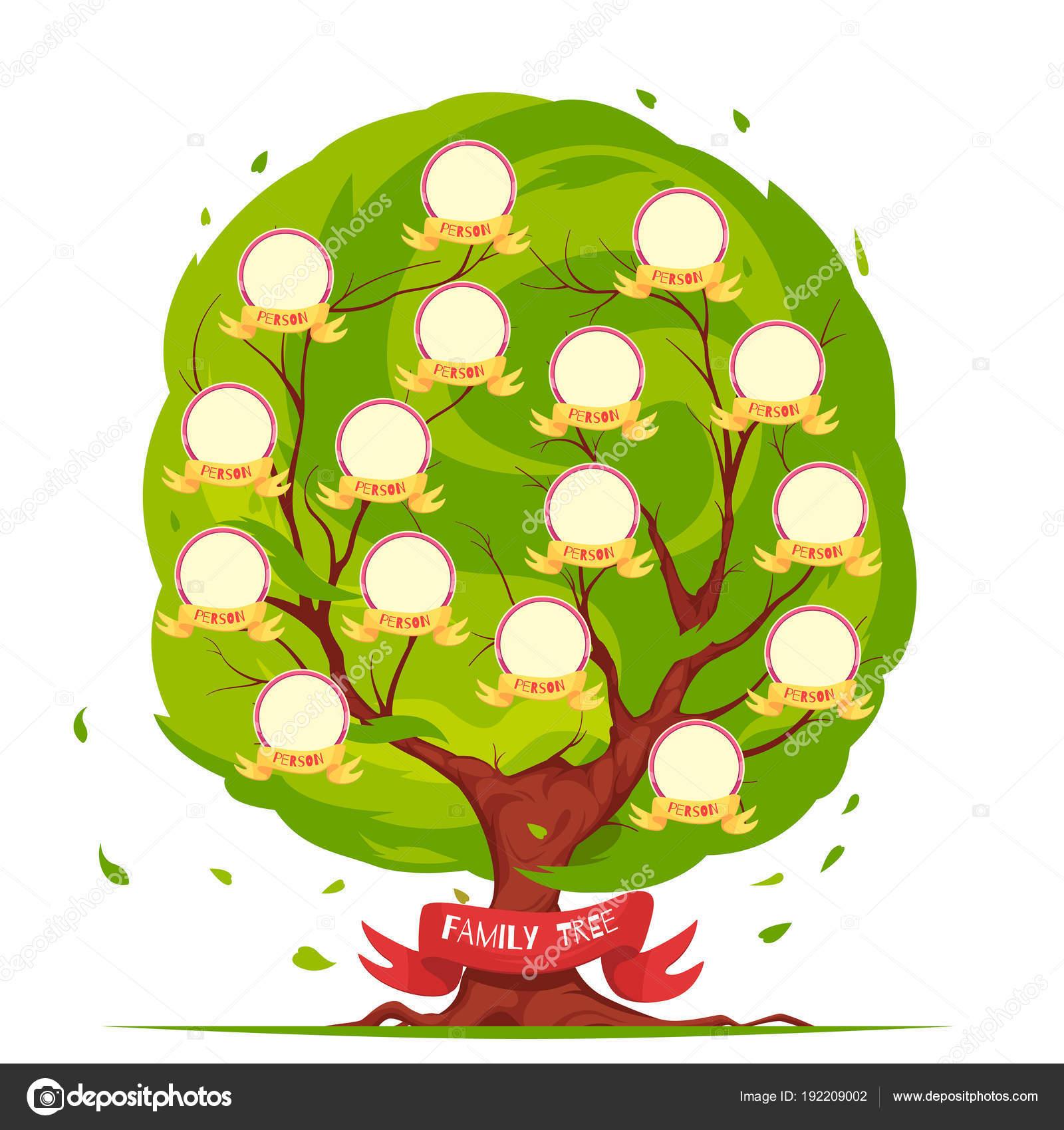 plantilla árbol genealógico — Archivo Imágenes Vectoriales ...