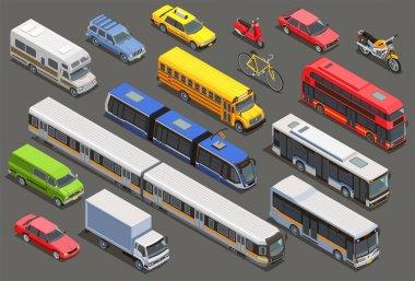 Isometric City Vehicle Set