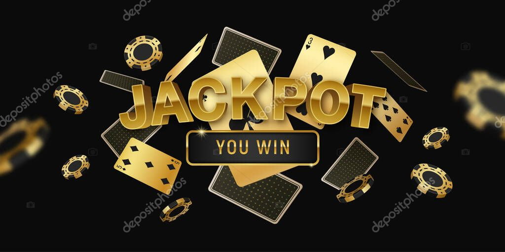 ✓ Poker jackpot online tournament horizontal black golden invitation banner  with realistic floating cards and chips vector illustration premium vector  in Adobe Illustrator ai ( .ai ) format, Encapsulated PostScript eps ( .eps  ) format