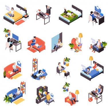 Remote Work Isometric Set