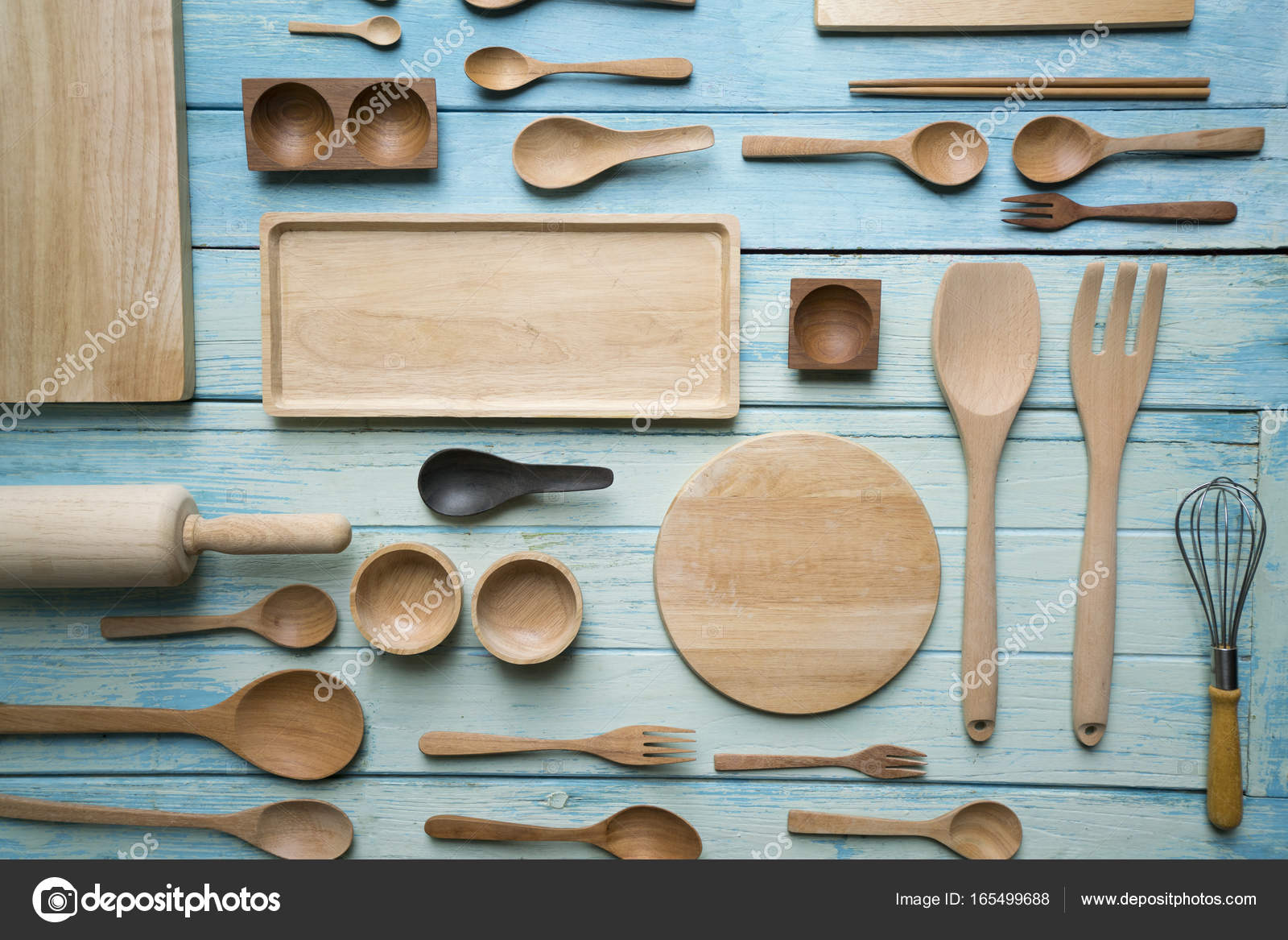 kitchen utensils for cooking on the wooden table, food prepare c ...