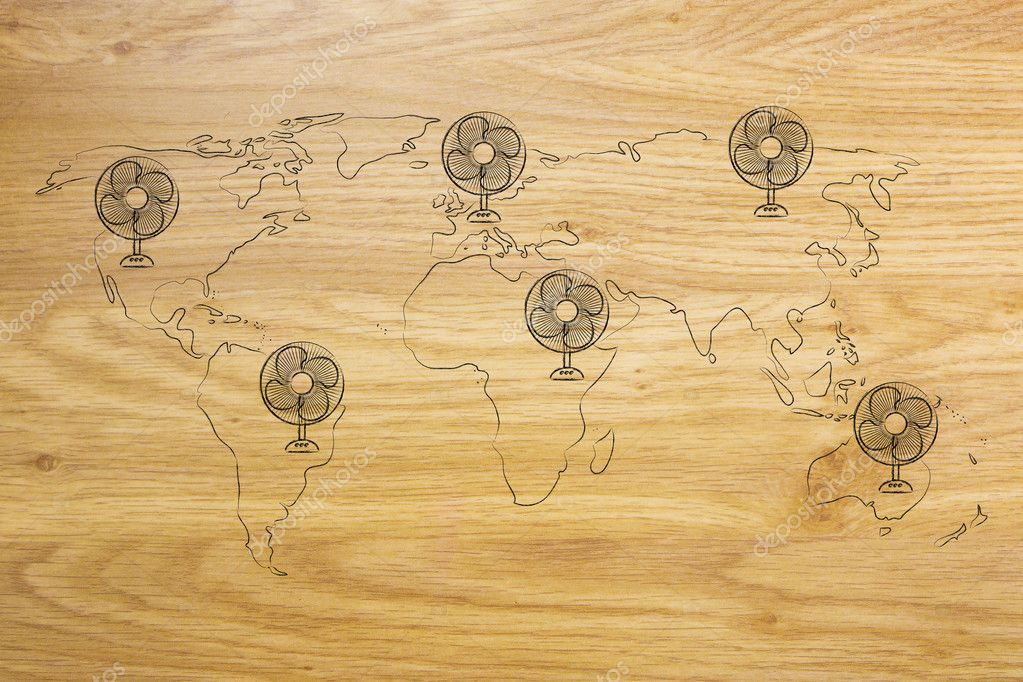 Global warming world map with funny electric fans stock photo global warming concept funny map of the world with huge electric fans photo by faithie gumiabroncs Choice Image