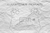 concetto di personalizzazione del prodotto: personalizzato elemento sotto i riflettori