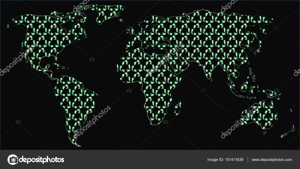 リサイクル シンボルで塗りつぶされた世界地図 ストックベクター