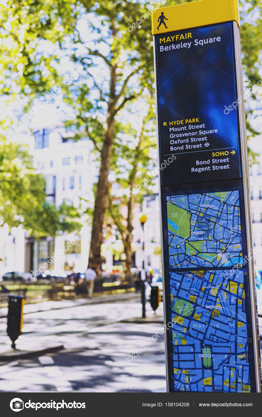 Street Map Of London City Centre.Mayfair Road Sign With Map In London City Centre Stock Editorial