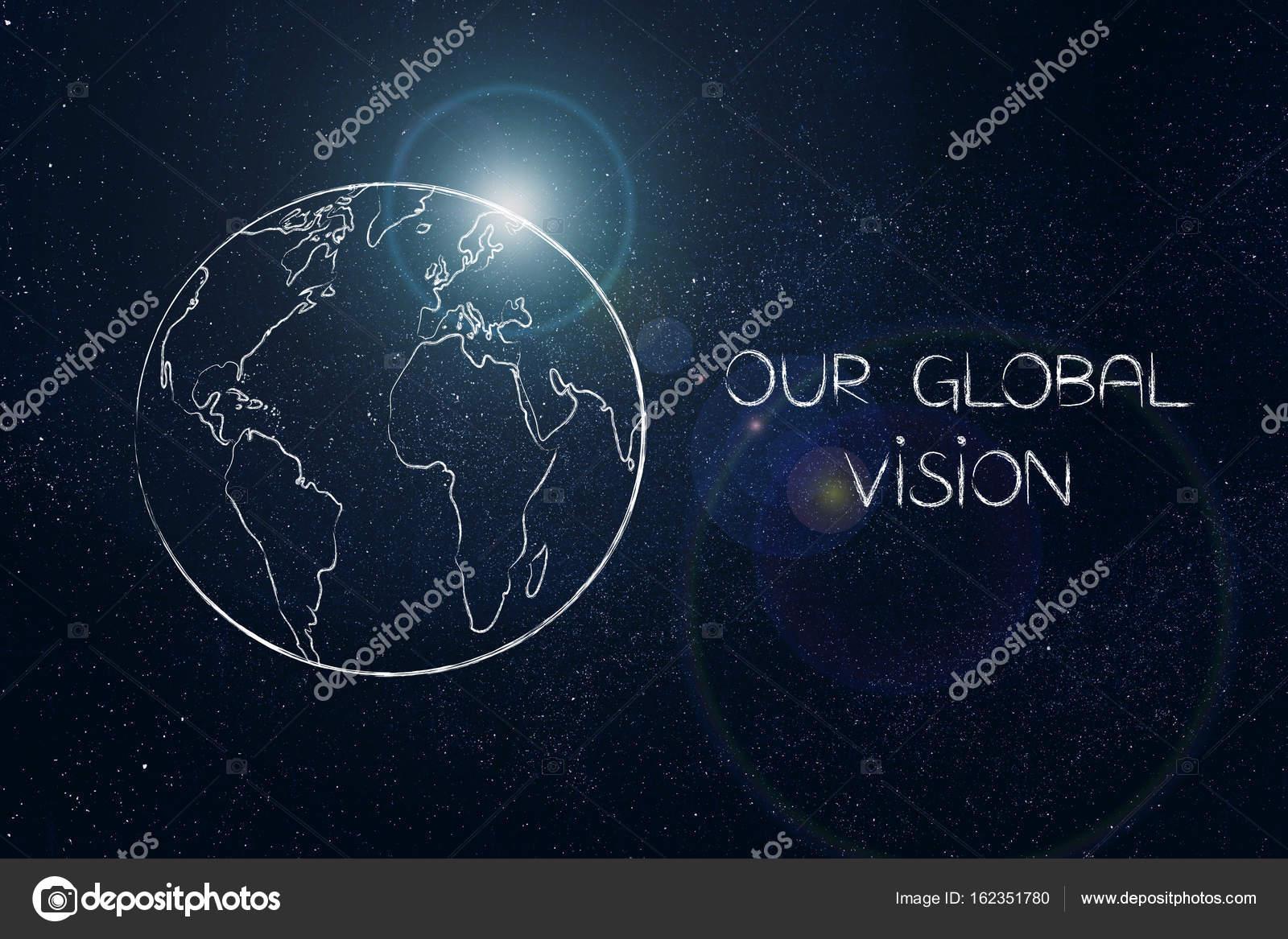 Wereldbol Met Licht : Onze globale visie bijschrift vext op wereldbol met licht flare