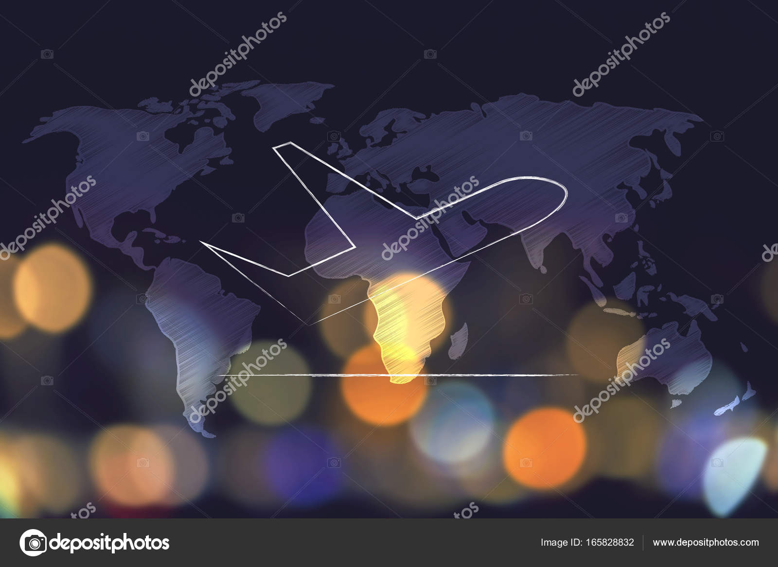 Airplane taking off over world map overlay and nighttime city bo airplane taking off over world map overlay and nighttime city bo stock photo gumiabroncs Images