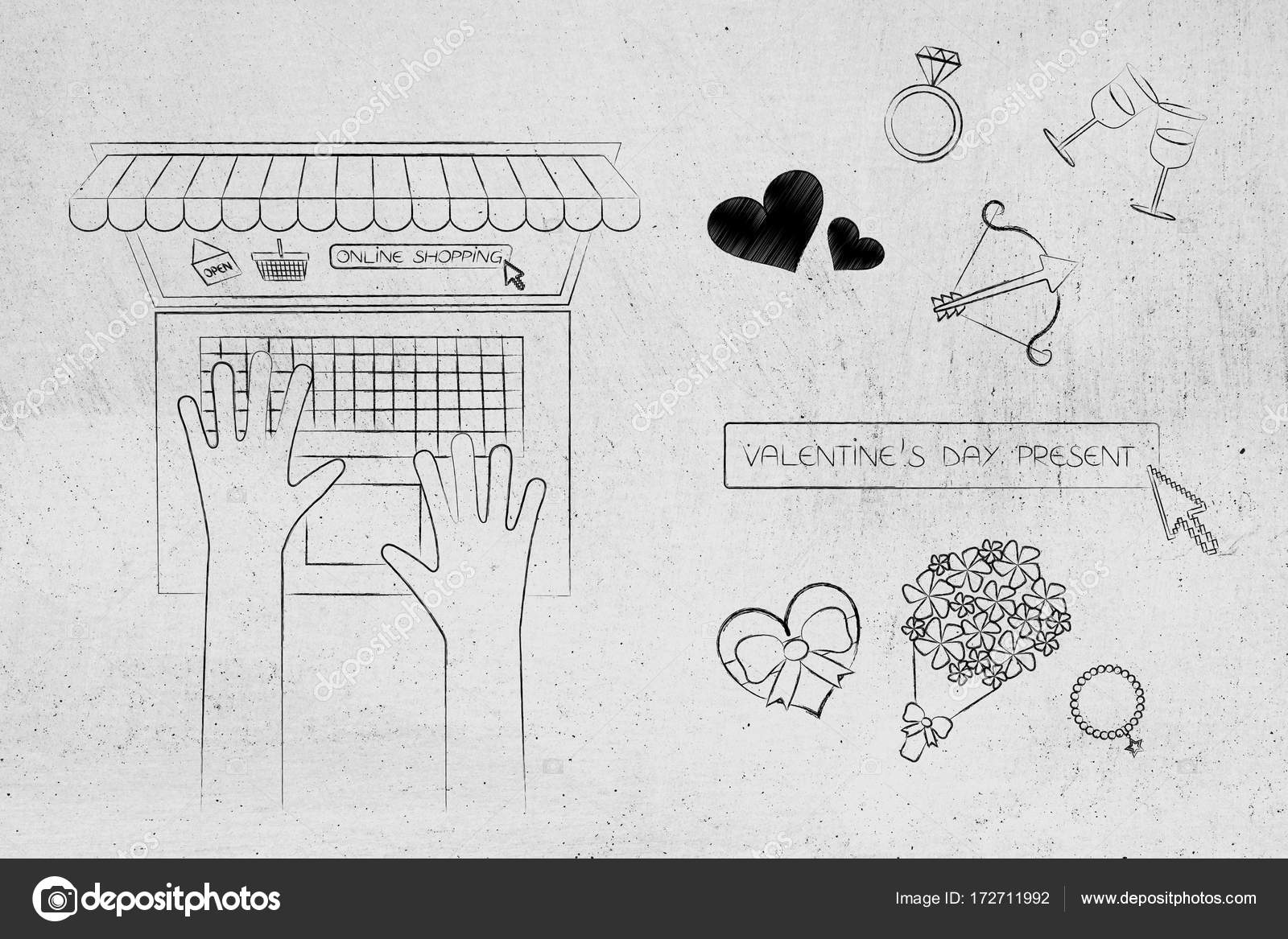 Valentines Day Symbols With Search Bar And Laptop User On Online