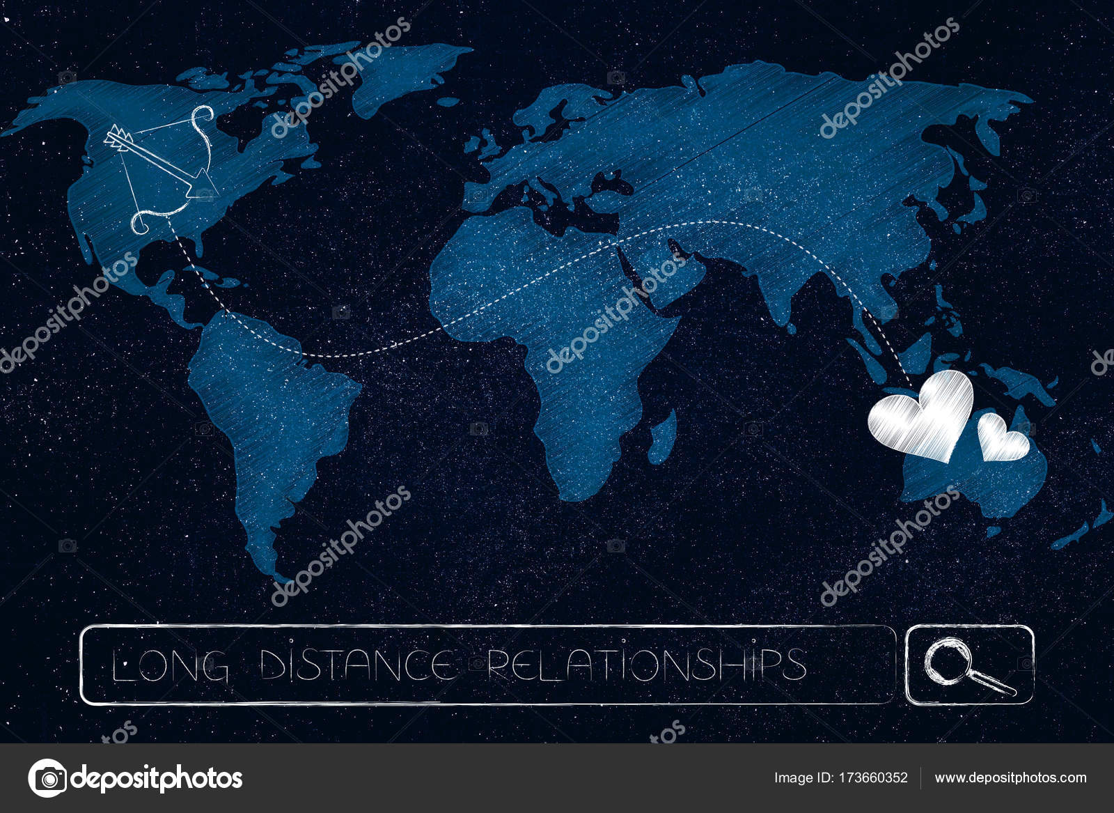 World map with lovehearts connected to cupids bow by dashed lin long distance relationship concept world map with lovehearts connected to cupids bow by dashed line across continents above search bar photo by faithie gumiabroncs Image collections