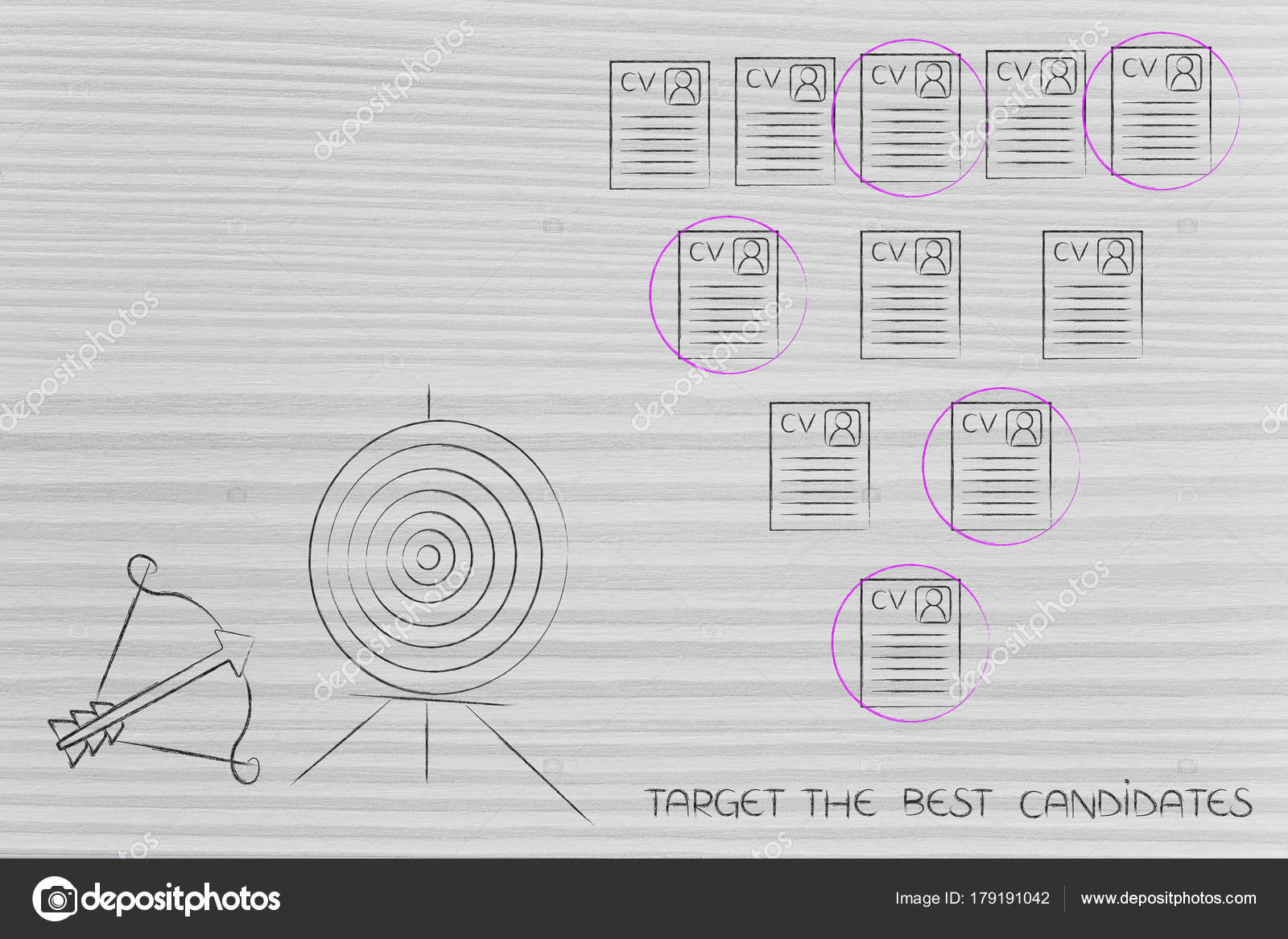 Ziel- und Pfeil neben Auswahl von Bewerbungen innerhalb einer Gruppe ...