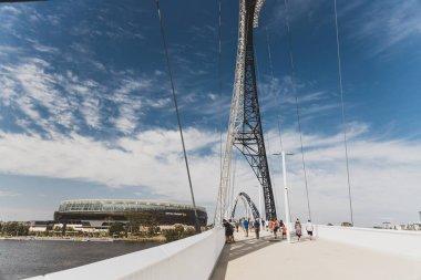 the Matagarup Bridge over the Swan River in Perth city CBD and O