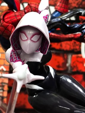 Osaka, Japan - Apr 23, 2019: Focused on fictional character figure from MARVEL Comics Spider-Woman Gwen Stacy Figure out of toys shop.