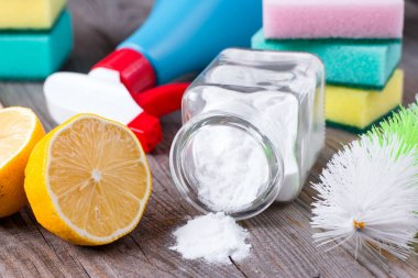 Eco-friendly natural cleaners. Baking soda, salt, lemon and cloth