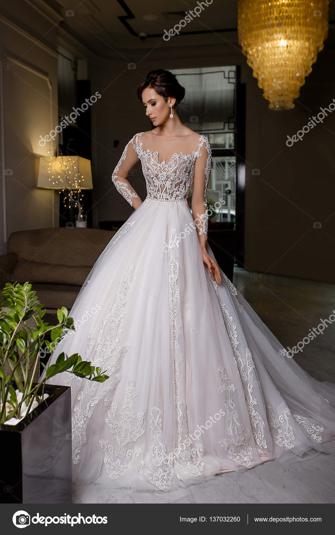 ee74e7f271b6 Σοβαρή νεαρή μελαχρινή μοντέλο θηλυκό πόζες στο μακρύ νυφικό φόρεμα με  δαντέλα στο πανέμορφο φόντο —