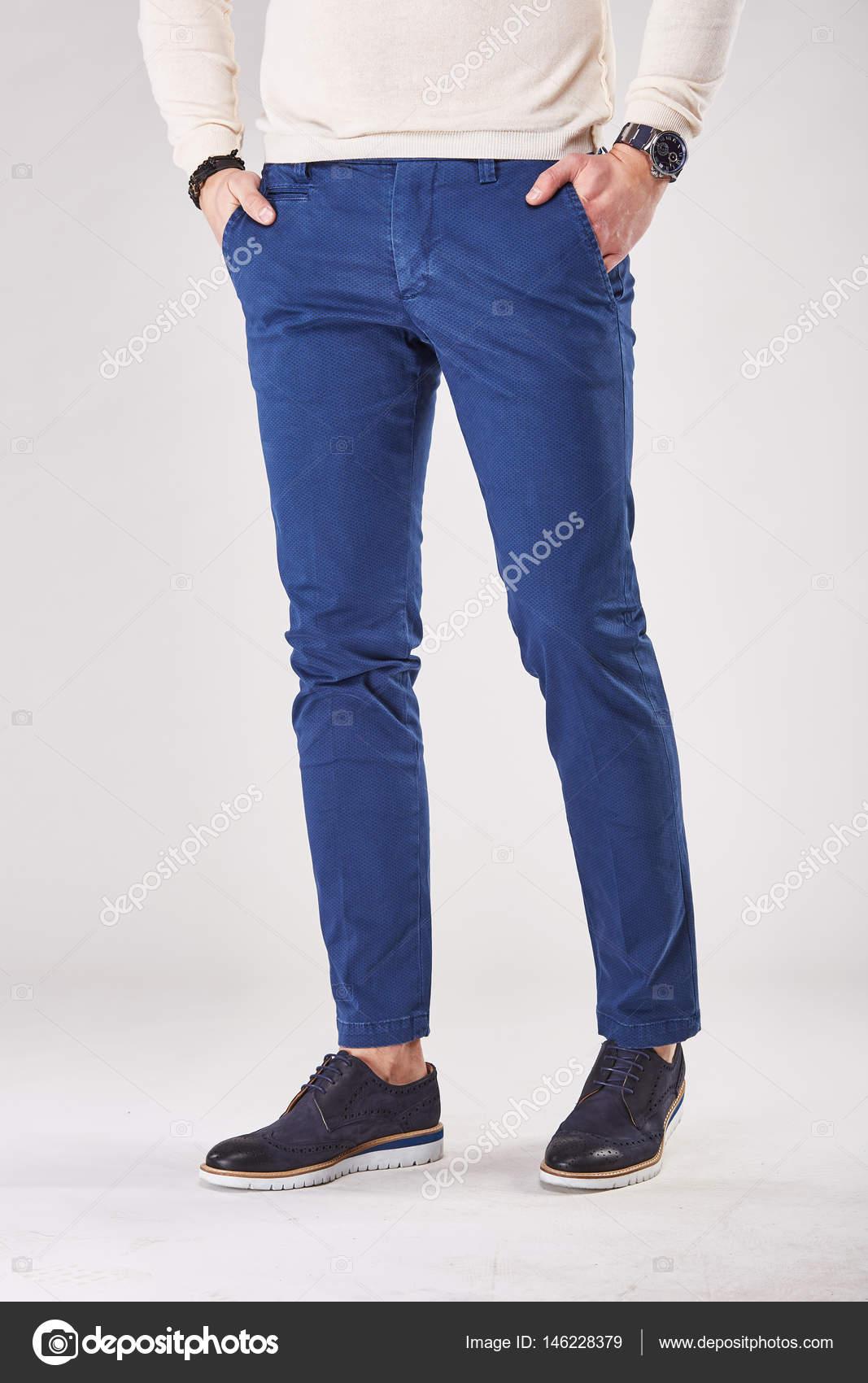 light studio in trendy deep blue pants