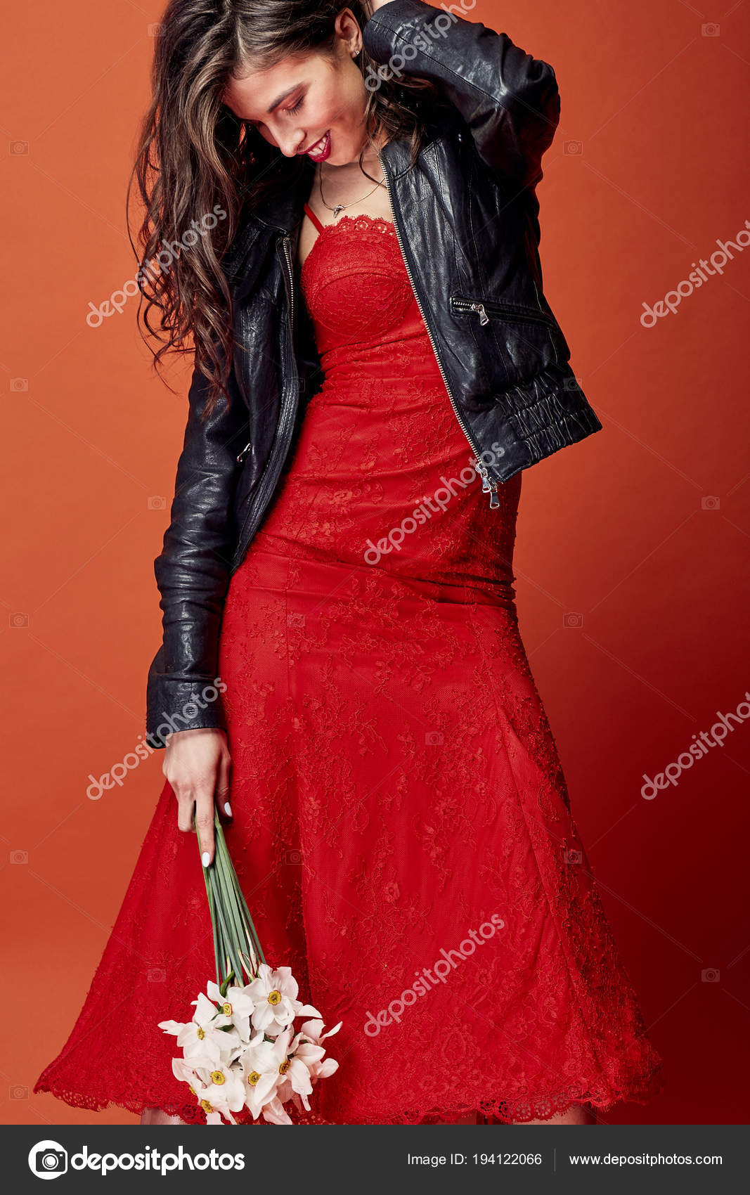 Beautiful Smiling Brunette Woman Wavy Hair Dressed Red Lace