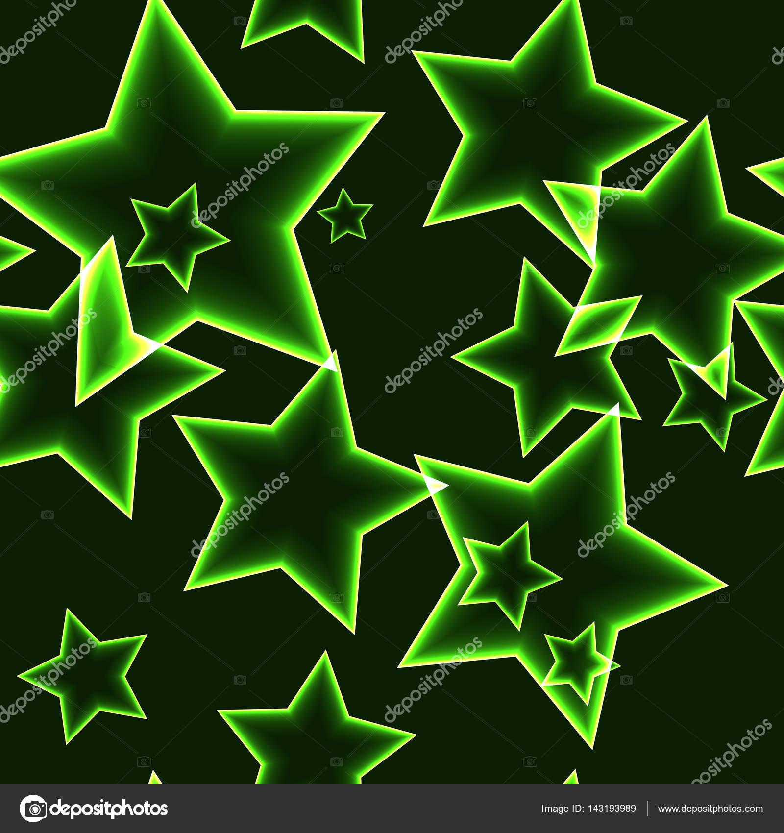 Vettore Sfondi Verde Fluo Reticolo Senza Giunte Scuro Con Stelle