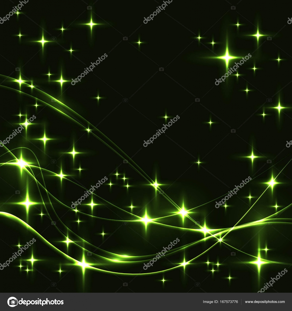 dark background with green stars and waves stock vector ledinka
