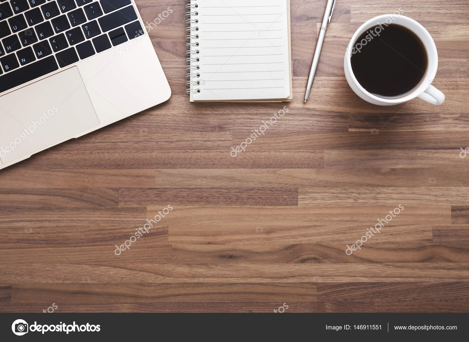 Office Wood Desk Background Stock Photo