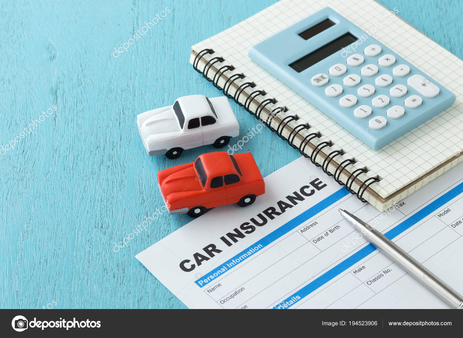 Car Insurance With Calculator On Wooden Background Stock Photo