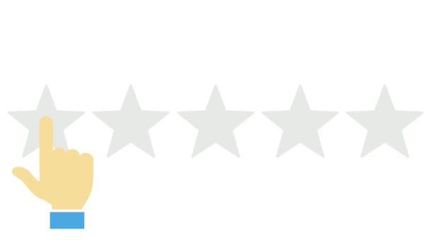 Flat animation of Online review, Customer giving review, Five Stars review, Hand pressing button, Feedback - conceptual animated video.