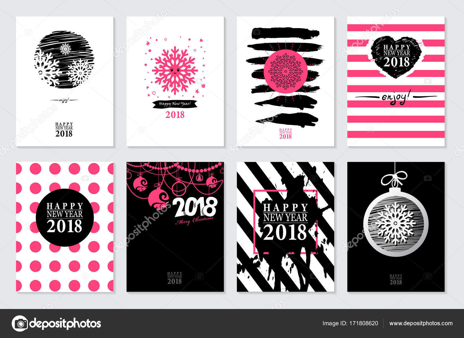 2018 set of happy new year card or background vector illustration vector by galastudio