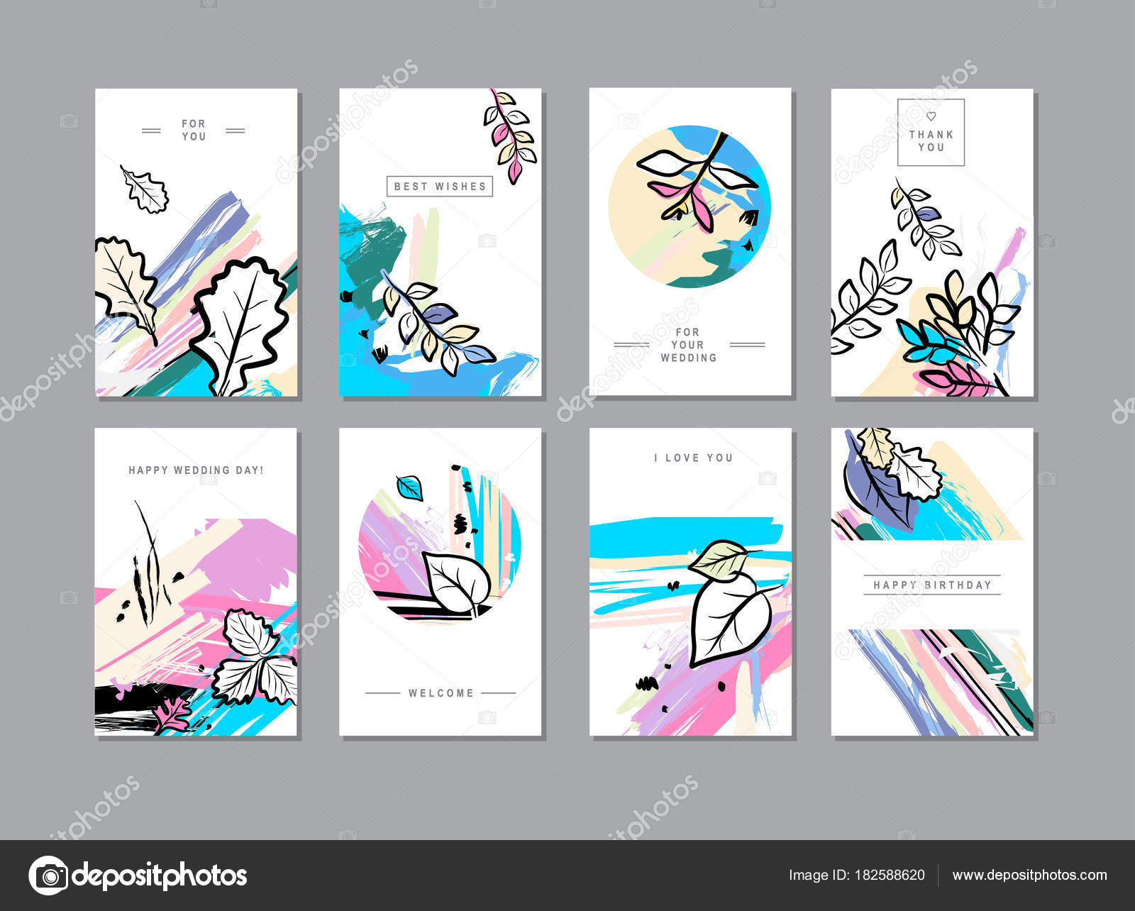 Set of creative universal floral cards in trendy style with hand drawn textures, vector, illustration