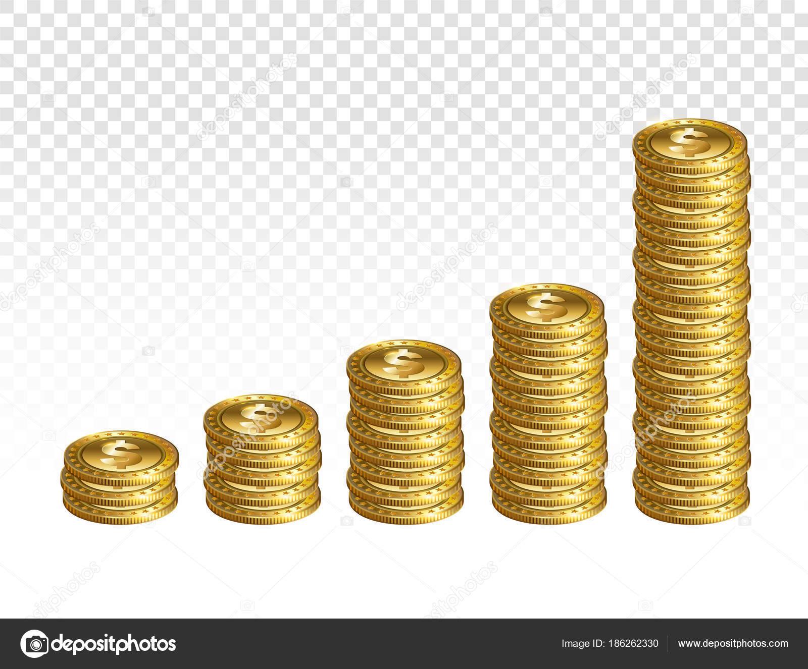 Realistische Gold Dollar Münzen Stapeln Auf Transparenten