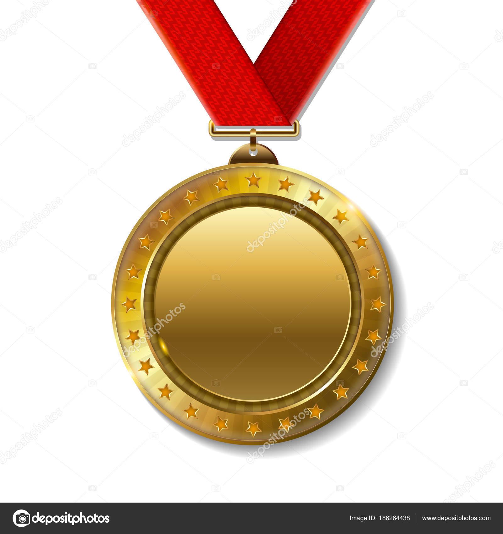 Medaglia Premio Campione Oro Realistico U2014 Vettoriale Stock