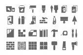 stavební materiály, opravy ikony. vektorové sada