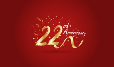 Anniversary celebration background. with the 22nd number in gold and with the words golden anniversary celebration.