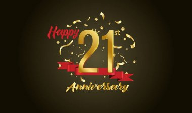 Anniversary celebration background. with the 21st number in gold and with the words golden anniversary celebration.