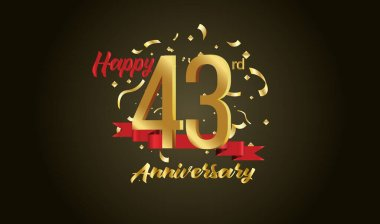 Anniversary celebration background. with the 43rd number in gold and with the words golden anniversary celebration.
