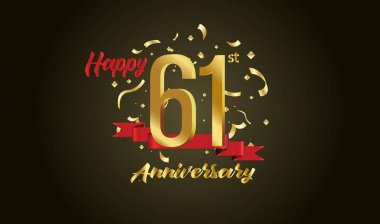 Anniversary celebration background. with the 61st number in gold and with the words golden anniversary celebration.