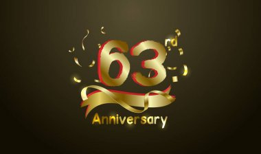 Anniversary celebration background. with the 63rd number in gold and with the words golden anniversary celebration.
