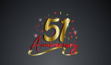 Anniversary celebration background. with the 51st number in gold and with the words golden anniversary celebration.